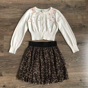 Girls Cardigan and Cheetah Skirt set.